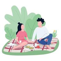 Romantic date outdoors flat color vector faceless characters