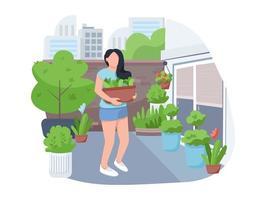Girl with flowerpot 2D vector web banner, poster
