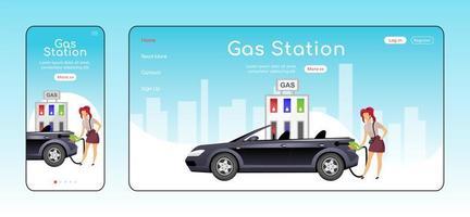 plantilla de vector de color plano de página de aterrizaje sensible de gasolinera