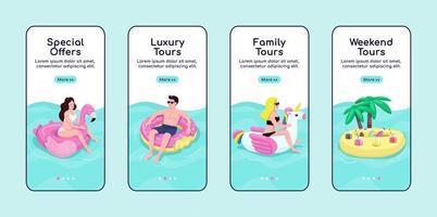 Summer sea tours onboarding mobile app screen flat vector template