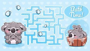 laberinto de la hora del baño con plantilla de personaje de dibujos animados vector
