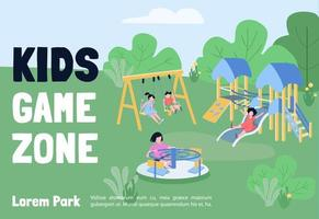 Kids game zone banner flat vector template