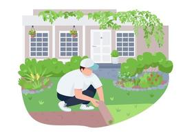Courtyard greening, lawn care 2D vector web banner, poster
