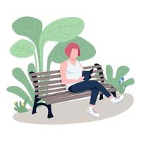 Girl reading book in park flat color vector faceless character