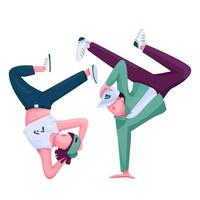 Urban dancers flat color vector faceless character