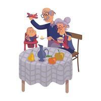 Grandparents feeding baby flat cartoon vector illustration
