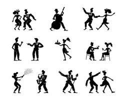 Retro women and men black silhouette illustrations kit vector