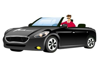 Man in cabriolet flat color vector faceless character