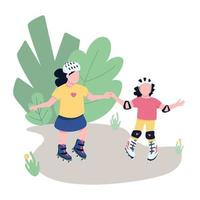 Friends roller skating in park flat color vector faceless characters