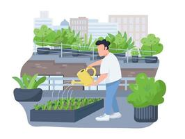 Plants watering 2D vector web banner, poster