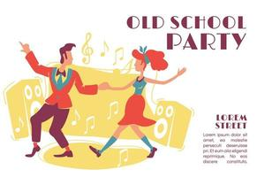 Old school party banner flat vector template