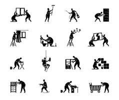 Home repairs black silhouette vector illustrations kit