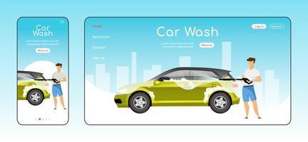 plantilla de vector de color plano de página de aterrizaje sensible de lavado de autos