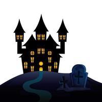 haunted castle of halloween in cemetery vector