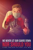 cartel de concienciación para animar a los trabajadores sanitarios que arriesgan su vida en primera línea vector