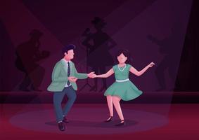 Hombre y mujer bailando ilustración de vector de color plano giro