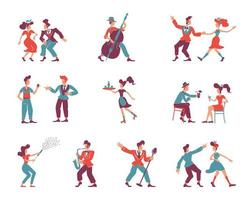 Rockabilly style people flat color vector faceless characters set
