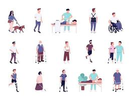 Injured people with disability activities flat color vector faceless characters set