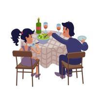 Husband and wife having dinner together flat cartoon vector illustration