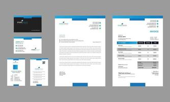Clean business office stationery set design vector