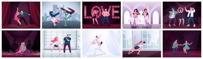 Couples dancing flat color vector illustrations set