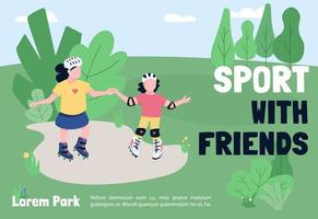 Sport with friends banner flat vector template