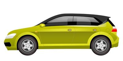 Green hatchback cartoon vector illustration