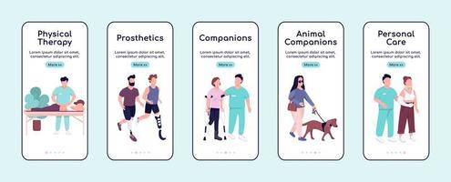 Disabled people care and companions onboarding mobile app screen flat vector template