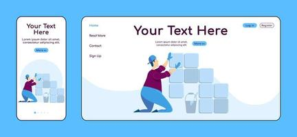 Laying tiles adaptive landing page flat color vector template