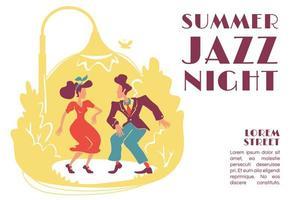 Summer jazz night banner flat vector template