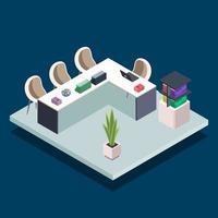 Ilustración de vector de color isométrico de sala de biblioteca de libro moderno