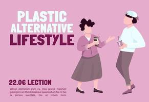 Plastic alternative lifestyle banner flat vector template