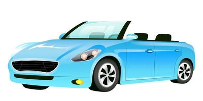 Blue cabriolet cartoon vector illustration
