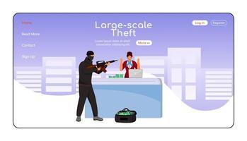 plantilla de vector de color plano de página de destino de robo a gran escala