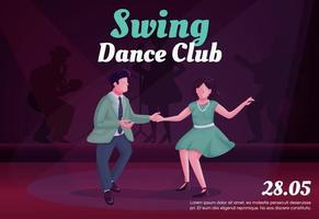 Swing dance club banner flat vector template
