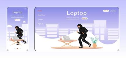 Laptop theft adaptive landing page flat color vector template
