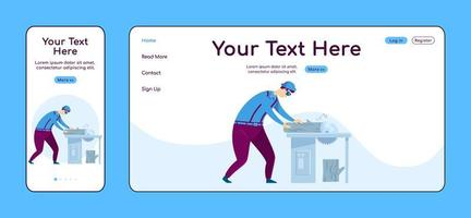 Carpentry adaptive landing page flat color vector template