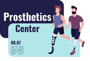 Prosthetics medical center banner flat vector template