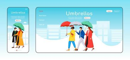 Umbrellas landing page flat color vector template