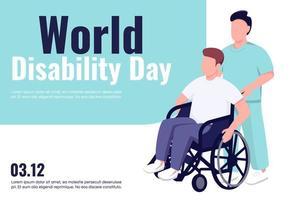 plantilla de vector plano de banner del día mundial de la discapacidad