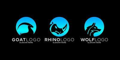 Circular animal logo bundle vector