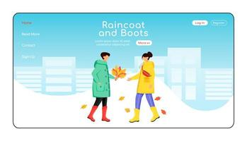 Raincoat and boots landing page flat color vector template
