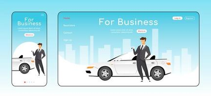 For business responsive landing page flat vector template