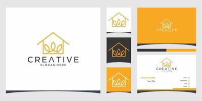 Home logo templates and business card design vector