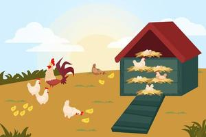 rooster and chicken coop vector