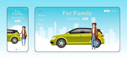 For family responsive landing page flat vector template