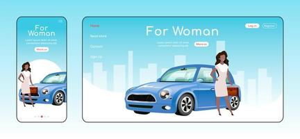 For woman responsive landing page flat vector template