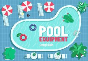 Pool equipment poster flat vector template