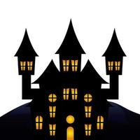 castillo embrujado halloween icono aislado