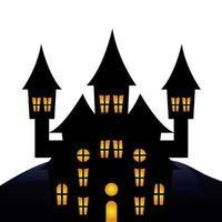 haunted castle halloween isolated icon vector